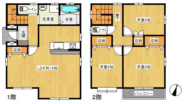 3LDKの間取り。2階にもトイレが有ります